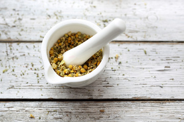 Chamomile, herbs in traditional medicine, home medicine cabinet