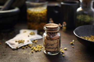 Dried chamomile flowers, natural medicine, traditional medicine
