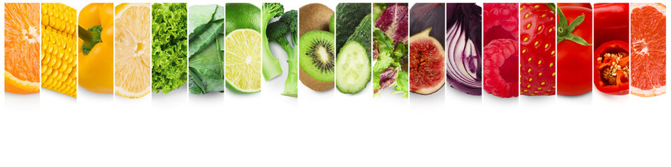 Colorful fruits and vegetables. Fresh food collage