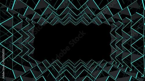 loopable modern futuristic dark triangle grid with blue beam light