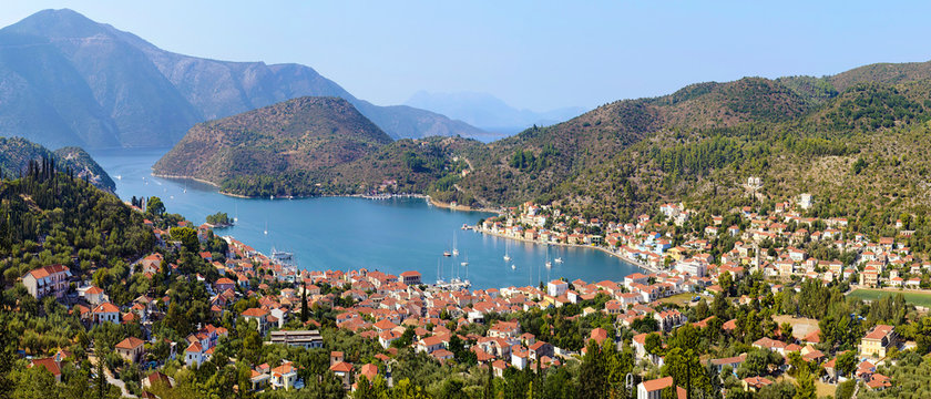 panoramic photo of Vathy in Ithaca island Greece
