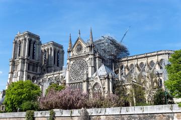 Paris, France: Notre Dame de Paris on April 17, 2019 after the fire