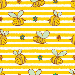 Vector yellow stripes cute bees and flowers repeat pattern. Suitable for gift wrap, textile and wallpaper.