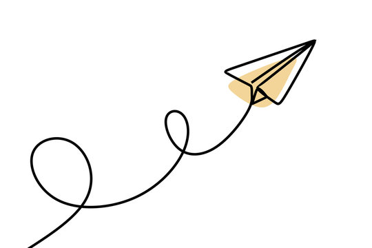Paper plane continuous one line drawing