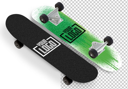 2 Skateboard Mockups Isolated on White
