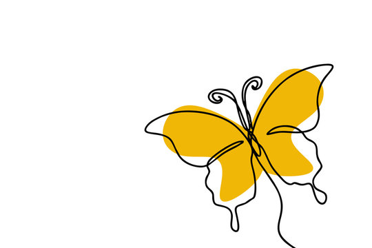 Butterfly one line drawing minimalism design