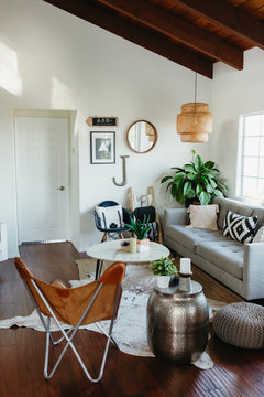 Furniture with houseplants and decorations in living room at home