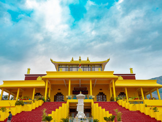 Gyuto Monastery,  Himachal Pradesh(India), a tibetian monastery in India, with amazing cloud patterns and blue sky