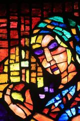 Glas in lood raam door Paul Bony en Alexandre Cingria (1879-1945). Kerk van Notre-Dame des Alpes. / Glas-in-lood door Alexandre Cingria. Notre-Dame des Alpes-kerk.
