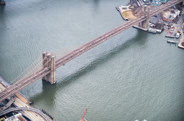 New York City from helicopter point of view. Brooklyn Bridge aerial view