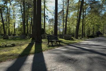 Parkbank auf dem Friedhof in Darmstadt Eberstadt