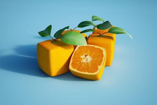 Cubic oranges in blue