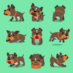 Cartoon character pit bull terrier dog poses for design.