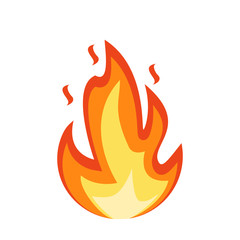 Fire emoji icon. Flame fire sign. Fire isolated on white background. Vector