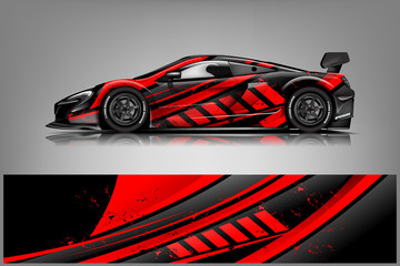 Fototapete - Car decal wrap design vector. Graphic abstract stripe racing background kit designs for vehicle, race car, rally, adventure and livery
