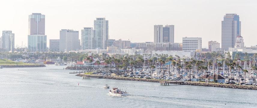 Long Beach California the USA port skyline with skyscrapers