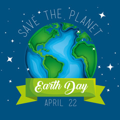 earth day celebration and planet with ribbon