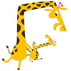 Giraffe mom and giraffe kid dancing