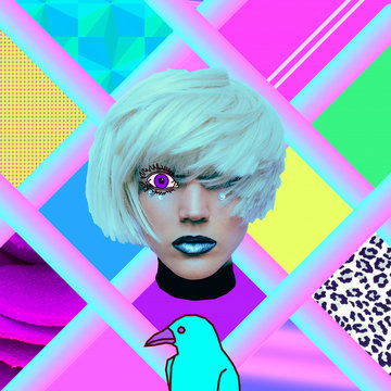 Aesthetic art collage. Psychedelic Blonde. And what do you see? Zine culture vibes.