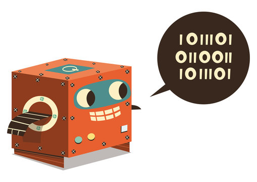 Cute Robot talking binary language