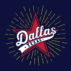 Dallas Texas design template. Vector and illustration.
