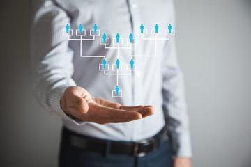 man hand team network