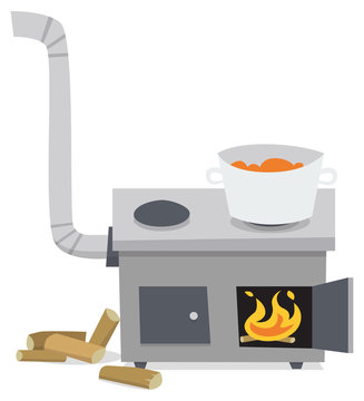 Stove with food