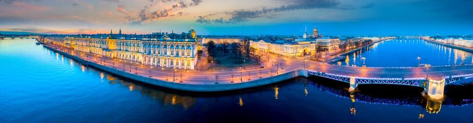 Saint Petersburg. Palace Embankment. Russia Panorama of St. Petersburg. Hermitage. Streets of Petersburg. Architecture cities of Russia. Palace Bridge. Hermitage garden. Palace Square. Fototapete