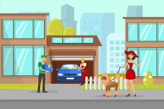 Pet Owner and Delivery Boy Vector Illustration