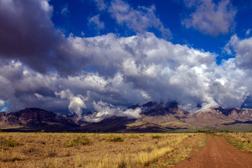 Stormclouds gather over Chiricahua Mountains near Portal, Ariaonz