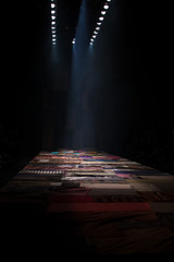 Empty Stage No people on Creative Runway Fashion Show with full scale Lighting, Carpet middle east persia decorative on ramp catwalk to present style of spring summer theme, copy space image