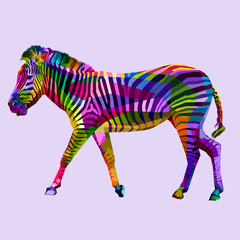 colorful walking zebra on geometric abstract pop art