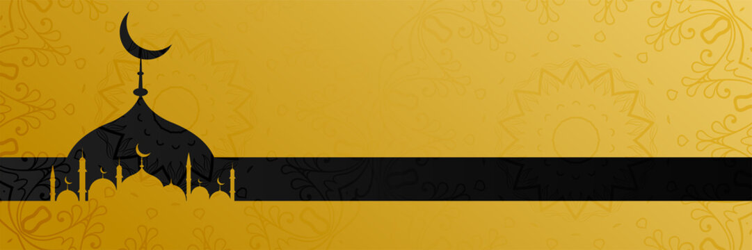 stylish golden mosque design islamic banner