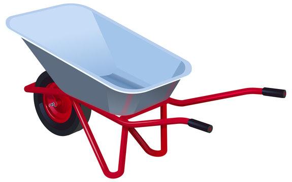 New empty modern garden wheelbarrow. Garden car isolated on white