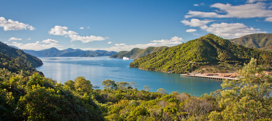 Panoramatic view of Cook Inlet from Queen Charlotte Drive near Picton, Marlborough departament, New Zealand