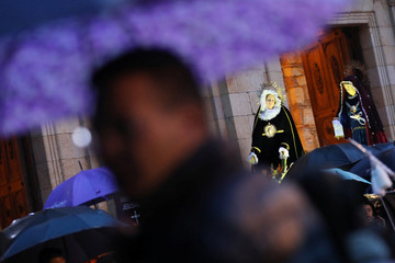 An image of the Virgin Mary is seen during a procession on Good Friday in Zipaquira