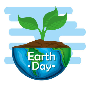 planet with planet and leaves to earth day