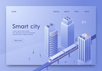 Poster de jardin Buffet, Bar Isometric is Written Smart City Landing Page.