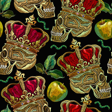 Embroidery golden crown, human skull and green apples seamless pattern. Fashion template for clothes, textiles, t-shirt design