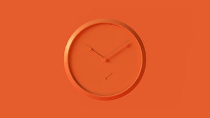 Orange Office Wall Clock 3d illustration 3d render