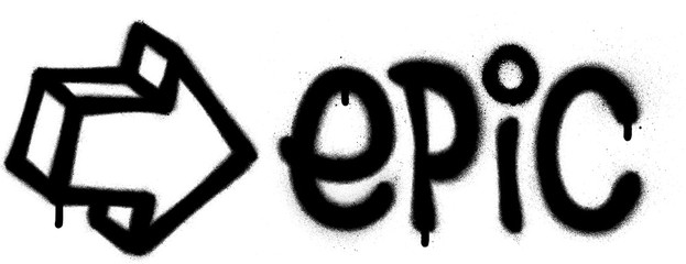 Papiers peints Graffiti graffiti epic word and arrow sprayed in black over white