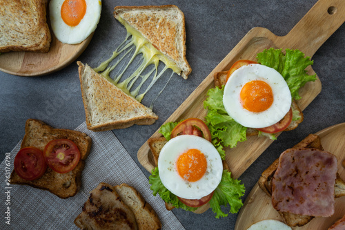 Homemade sandwich or toast wheat bread with fried egg