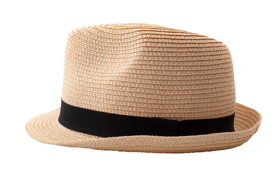 Summer and beach fashion, personal accessories and holiday head wear concept theme with a straw hat or fedora with a black strap or ribbon isolated on white background with a clip path cutout