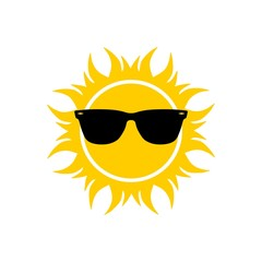 Sunglasses and sun icon, sign or logo