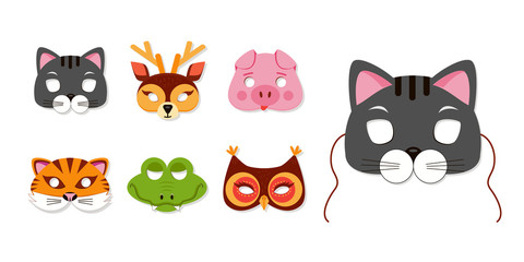 Mask of animals for kids birthday or costume party vector illustrations