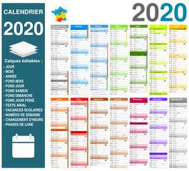 Calendrier 2020 14 mois avec vacances scolaires officielles entièrement modifiable via calques et texte arial