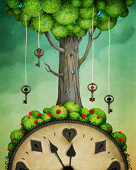 Concept fantasy illustration or poster with  tree with keys and  clock, Wonderland.