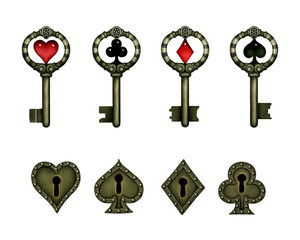 Fantasy imagination collection of four keys card suit and four keyholes, Wonderland.