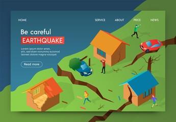 Vector Illustration Be Careful Earthquake Banner. Papier Peint