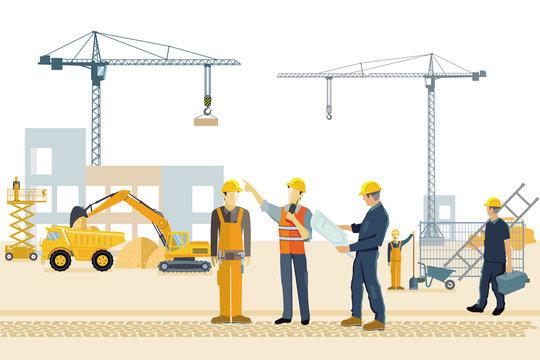 Baustelle mit Bauarbeitern, Bagger und Kran
